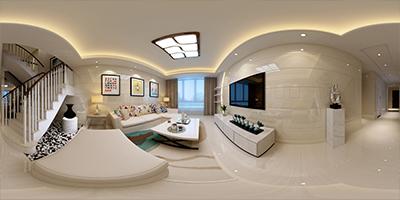 张家港张家港装饰网-现代客厅720°效果图展示