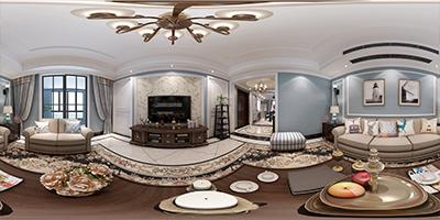 张家港张家港装饰网-美式客厅720°效果图展示